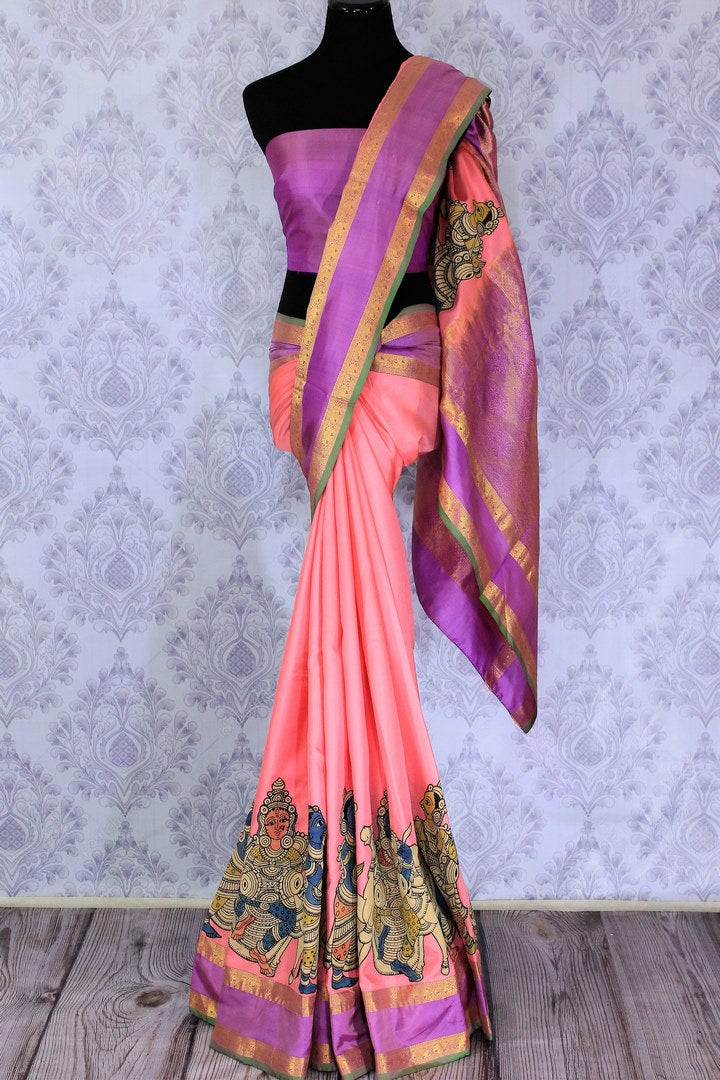 Buy beautiful pink silk saree online in USA with Kalamkari applique work. The saree is a perfect choice for a beautiful Indian look at special occasions. Buy more such Indian designer sarees, silk sarees in USA at Pure Elegance exclusive fashion store or shop online at the comfort of your home.-full view