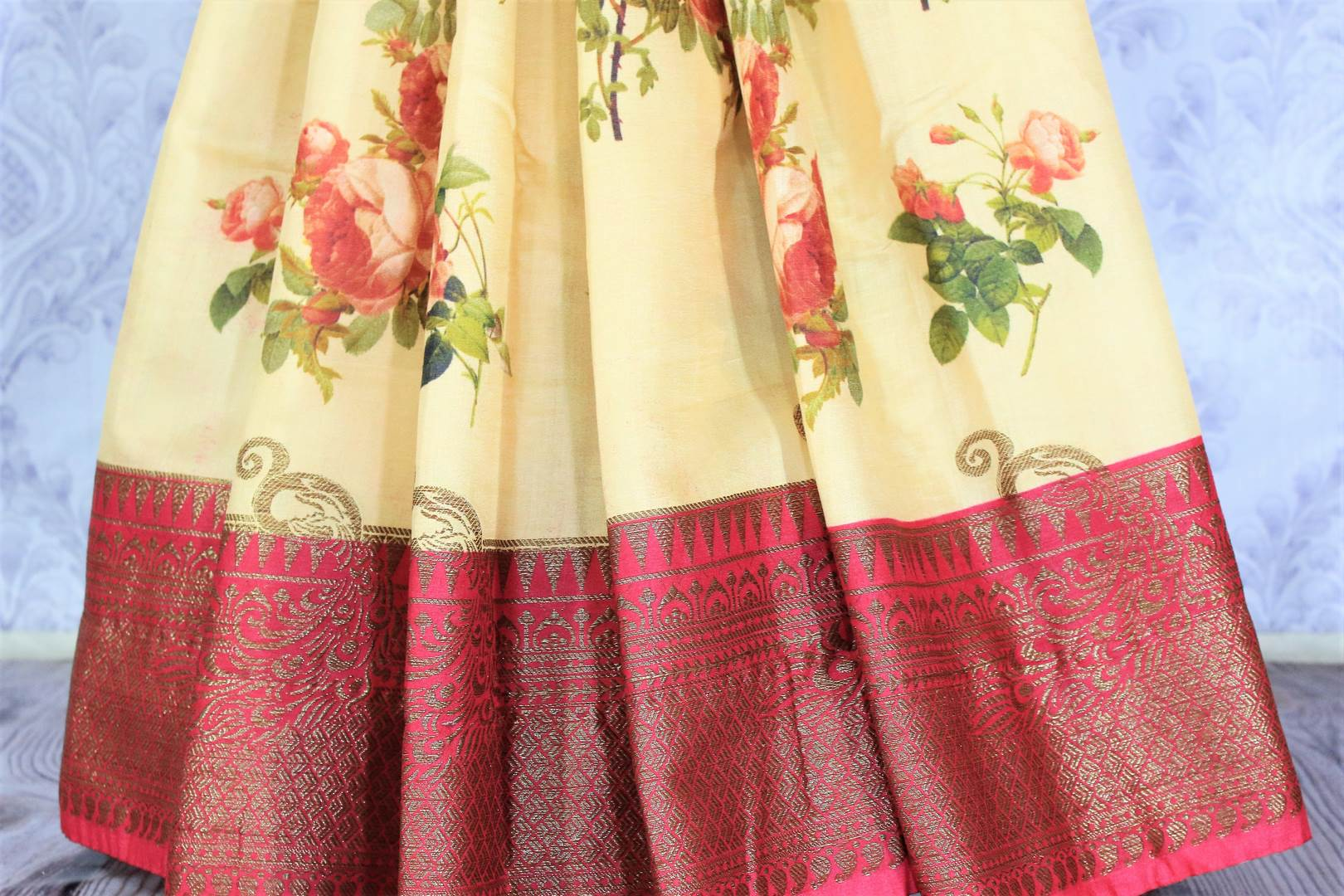 90F646 Cream Floral Print Tussar Silk Saree with Banarasi Border