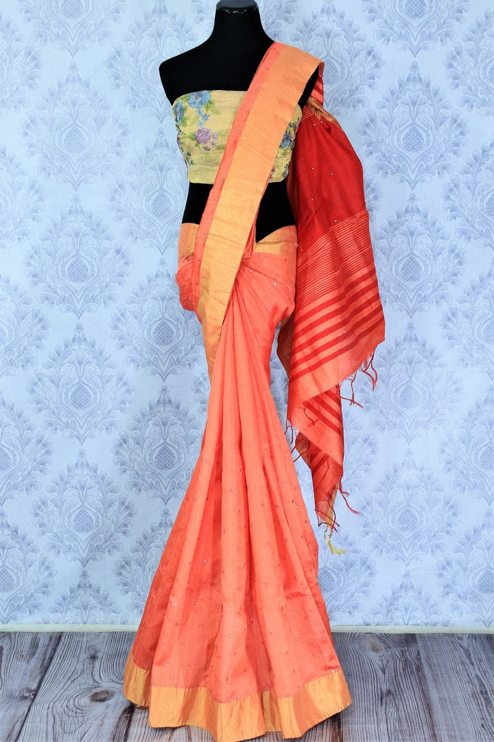 Buy orange matka silk saree with mirror work online in USA. Make your Indian look special with beautiful Indian handloom sarees available at Pure Elegance Indian clothing store in USA or shop online.-full view