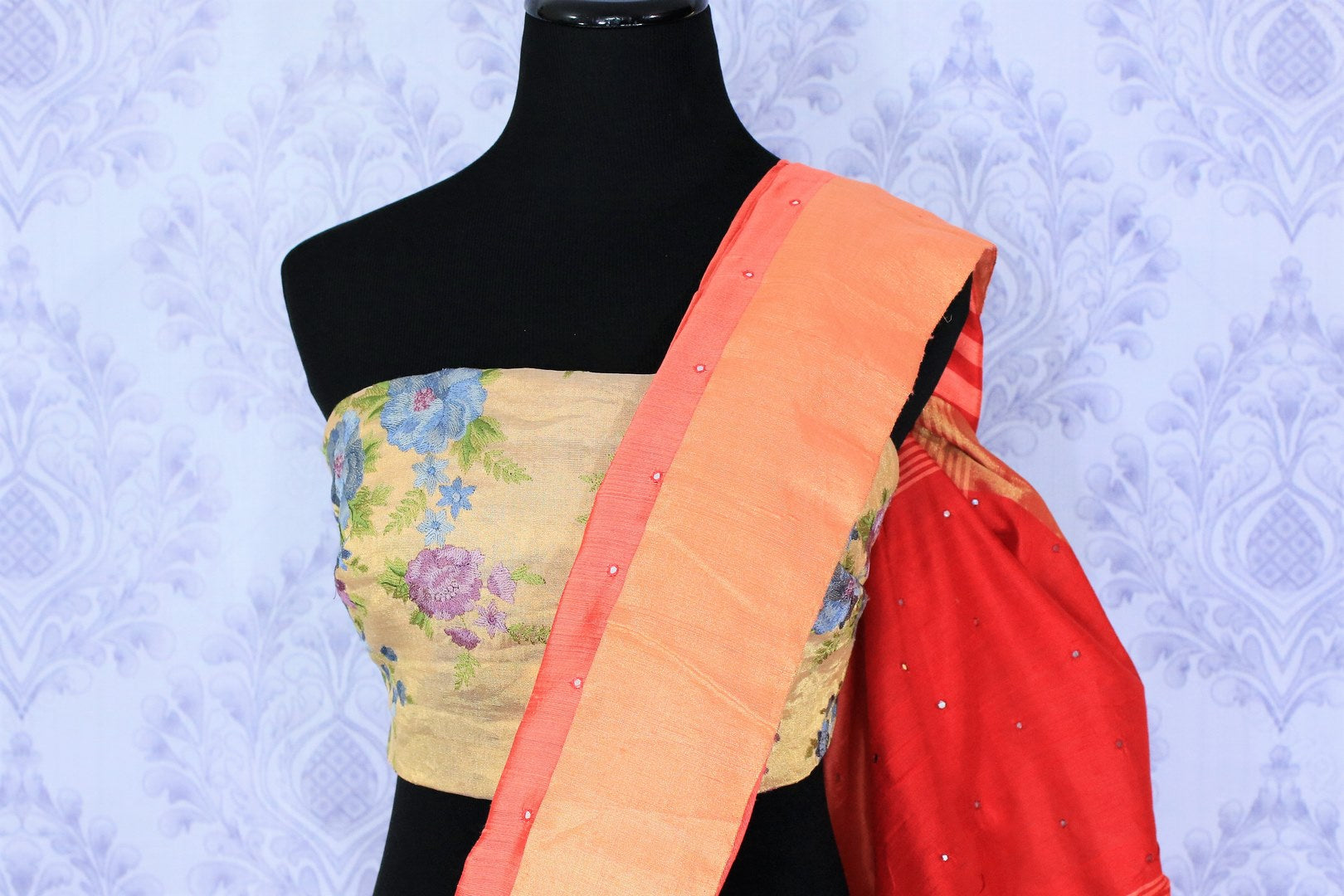 Buy orange matka silk saree with mirror work online in USA. Make your Indian look special with beautiful Indian handloom sarees available at Pure Elegance Indian clothing store in USA or shop online.-blouse pallu