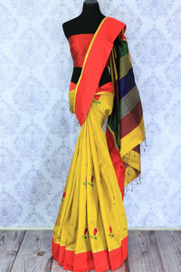 Buy yellow silk saree online in USA with embroidered rose motifs . Make your Indian look special with beautiful Indian designer silk sarees available at Pure Elegance Indian clothing store in USA or shop online.-full view
