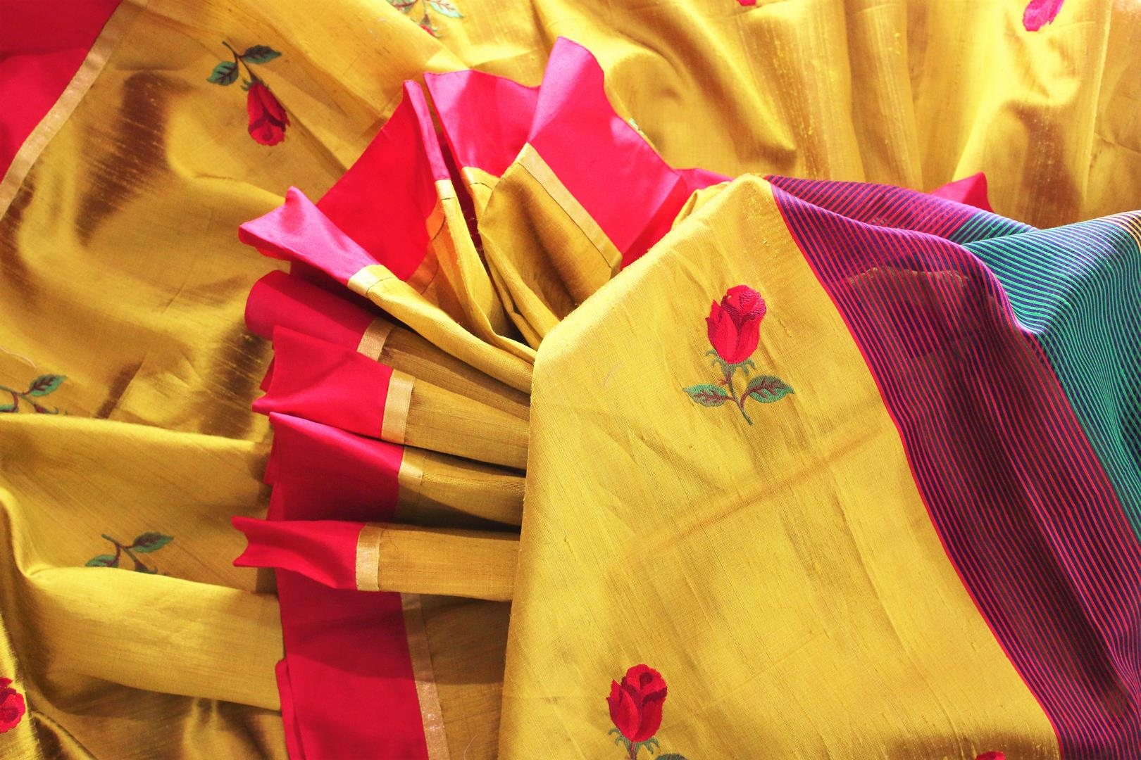 Buy yellow silk saree online in USA with embroidered rose motifs . Make your Indian look special with beautiful Indian designer silk sarees available at Pure Elegance Indian clothing store in USA or shop online.-details
