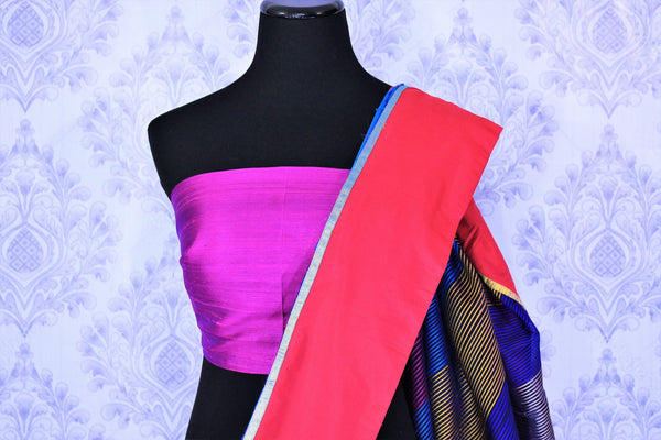 Buy bright blue silk sari online in USA with embroidered rose motifs . Make your Indian look special with beautiful Indian designer silk sarees available at Pure Elegance Indian clothing store in USA or shop online.-blouse pallu