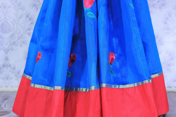 Buy bright blue silk sari online in USA with embroidered rose motifs . Make your Indian look special with beautiful Indian designer silk sarees available at Pure Elegance Indian clothing store in USA or shop online.-pleats