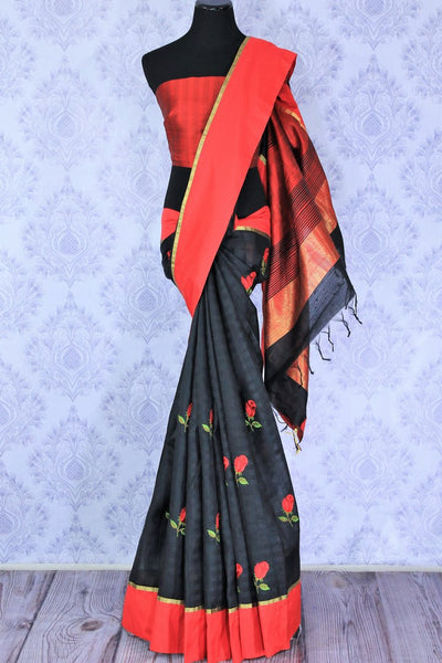 Buy classic black and red silk saree online in USA with embroidered rose motifs . Make your Indian look special with beautiful Indian designer silk sarees available at Pure Elegance Indian clothing store in USA or shop online.-full view