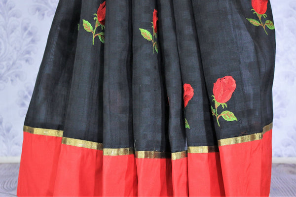 Buy classic black and red silk saree online in USA with embroidered rose motifs . Make your Indian look special with beautiful Indian designer silk sarees available at Pure Elegance Indian clothing store in USA or shop online.-pleats
