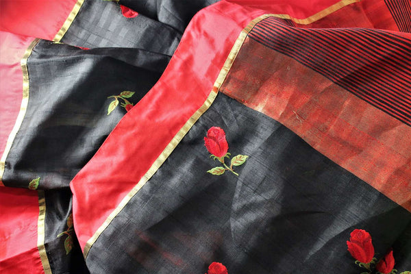 Buy classic black and red silk saree online in USA with embroidered rose motifs . Make your Indian look special with beautiful Indian designer silk sarees available at Pure Elegance Indian clothing store in USA or shop online.-details