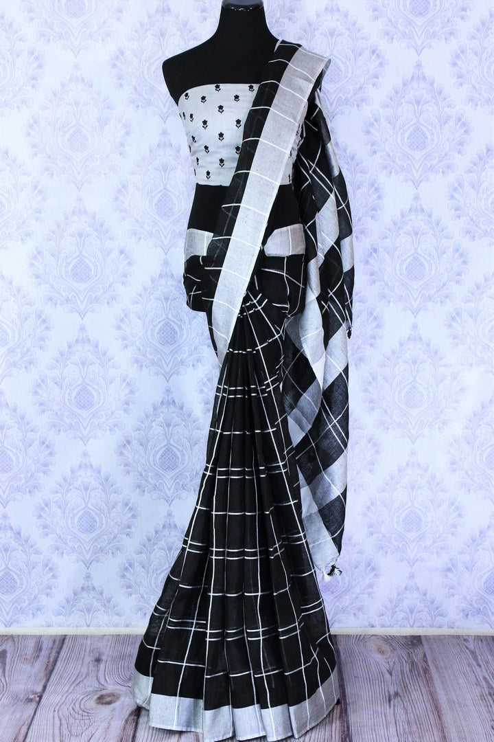 Handwoven black check linen sari buy online in USA. Make your Indian look special with beautiful Indian handloom sarees, linen saris available at Pure Elegance Indian clothing store in USA or shop online.-full view