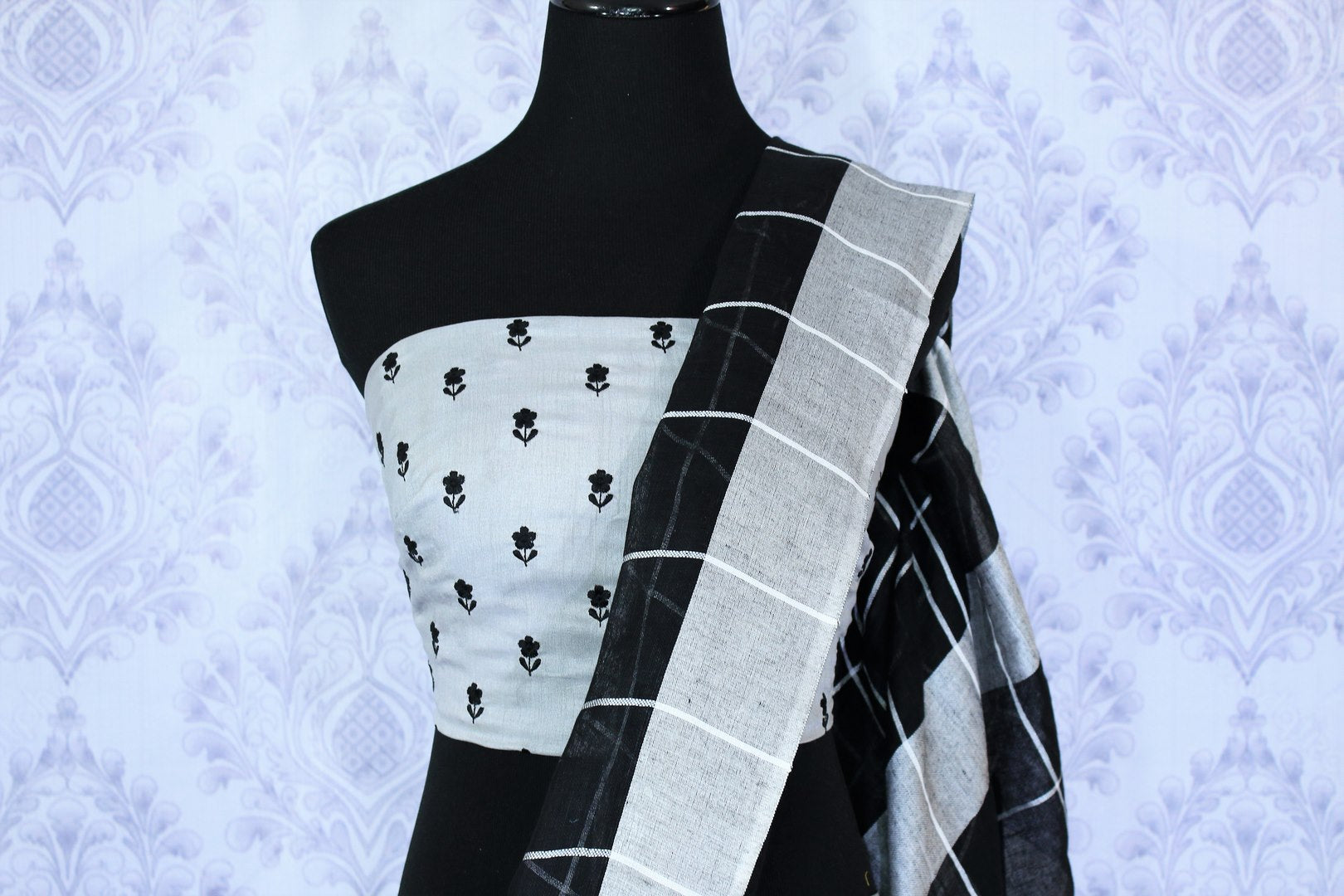 Handwoven black check linen sari buy online in USA. Make your Indian look special with beautiful Indian handloom sarees, linen saris available at Pure Elegance Indian clothing store in USA or shop online.-blouse pallu