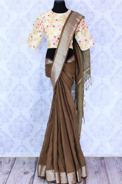 Alluring brown linen saree with embroidered saree blouse buy online in USA. Make your Indian look special with beautiful Indian handloom sarees, linen saris available at Pure Elegance Indian clothing store in USA or shop online.-full view