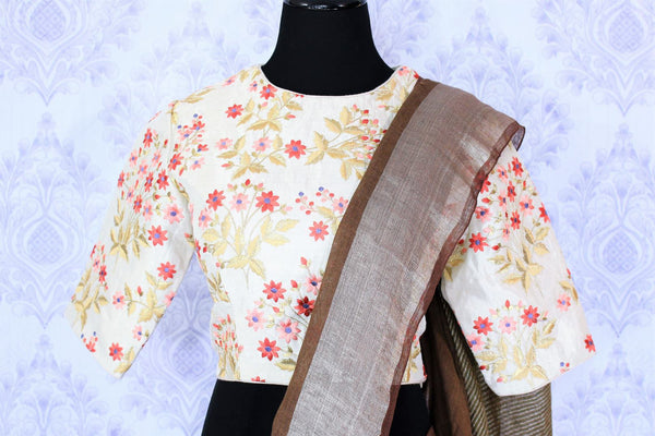 Alluring brown linen saree with embroidered saree blouse buy online in USA. Make your Indian look special with beautiful Indian handloom sarees, linen saris available at Pure Elegance Indian clothing store in USA or shop online.-blouse pallu