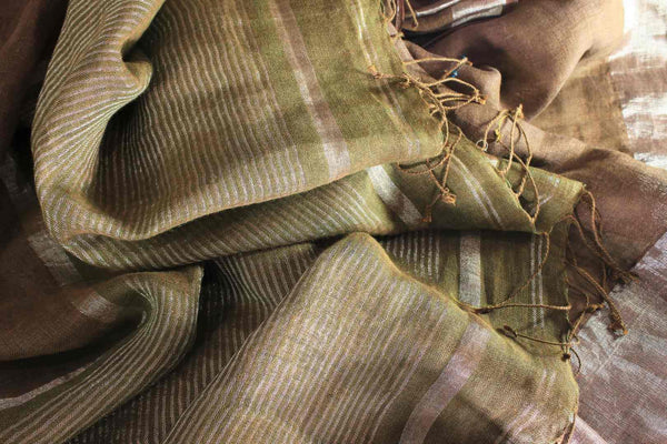 Alluring brown linen saree with embroidered saree blouse buy online in USA. Make your Indian look special with beautiful Indian handloom sarees, linen saris available at Pure Elegance Indian clothing store in USA or shop online.-details