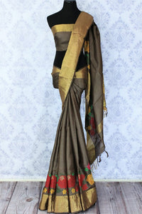 Buy brown color tussar silk saree online in USA with bright floral embroidery. Make a statement with your Indian saree look at special occasions with an exquisite collection of Indian designer sarees available at Pure Elegance clothing store or shop online.-full view