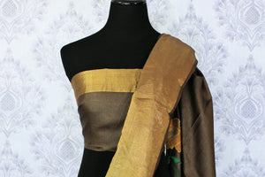 Buy brown color tussar silk saree online in USA with bright floral embroidery. Make a statement with your Indian saree look at special occasions with an exquisite collection of Indian designer sarees available at Pure Elegance clothing store or shop online.-blouse pallu