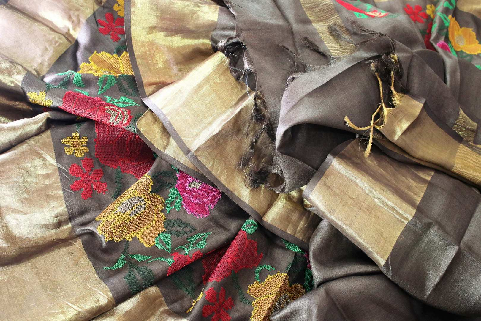 Buy brown color tussar silk saree online in USA with bright floral embroidery. Make a statement with your Indian saree look at special occasions with an exquisite collection of Indian designer sarees available at Pure Elegance clothing store or shop online.-details