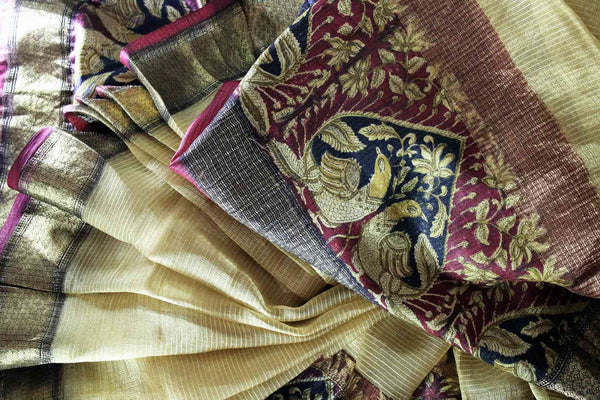 Buy elegant beige kota silk saree online in USA with printed border. Make a statement with your Indian saree look at special occasions with an exquisite collection of Indian designer sarees available at Pure Elegance clothing store or shop online.-details