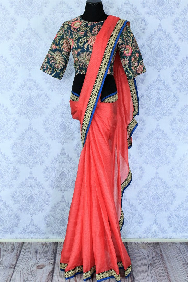 Buy pink kota silk saree online in USA with printed saree blouse. Make a statement with your Indian saree look at special occasions with an exquisite collection of Indian designer saris available at Pure Elegance clothing store or shop online.-full view