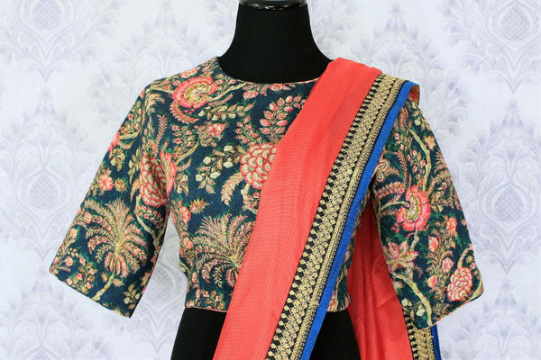 Buy pink kota silk saree online in USA with printed saree blouse. Make a statement with your Indian saree look at special occasions with an exquisite collection of Indian designer saris available at Pure Elegance clothing store or shop online.- blouse pallu