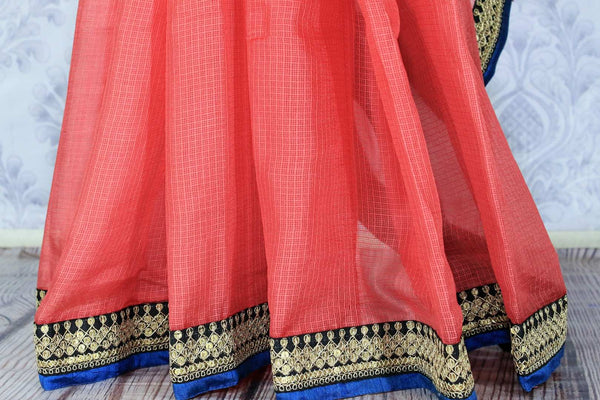 Buy pink kota silk saree online in USA with printed saree blouse. Make a statement with your Indian saree look at special occasions with an exquisite collection of Indian designer saris available at Pure Elegance clothing store or shop online.-pleats