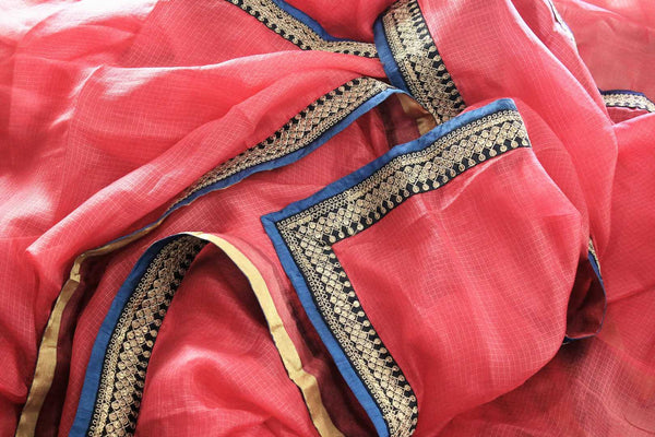 Buy pink kota silk saree online in USA with printed saree blouse. Make a statement with your Indian saree look at special occasions with an exquisite collection of Indian designer saris available at Pure Elegance clothing store or shop online.-details