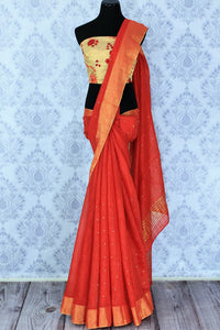 Buy red matka silk sari online in USA with mirror work. Make a statement with your Indian saree look at special occasions with an exquisite collection of Indian designer silk saris available at Pure Elegance clothing store or shop online.-full view