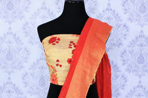 Buy red matka silk sari online in USA with mirror work. Make a statement with your Indian saree look at special occasions with an exquisite collection of Indian designer silk saris available at Pure Elegance clothing store or shop online.-blouse pallu
