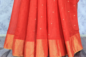 Buy red matka silk sari online in USA with mirror work. Make a statement with your Indian saree look at special occasions with an exquisite collection of Indian designer silk saris available at Pure Elegance clothing store or shop online.-pleats