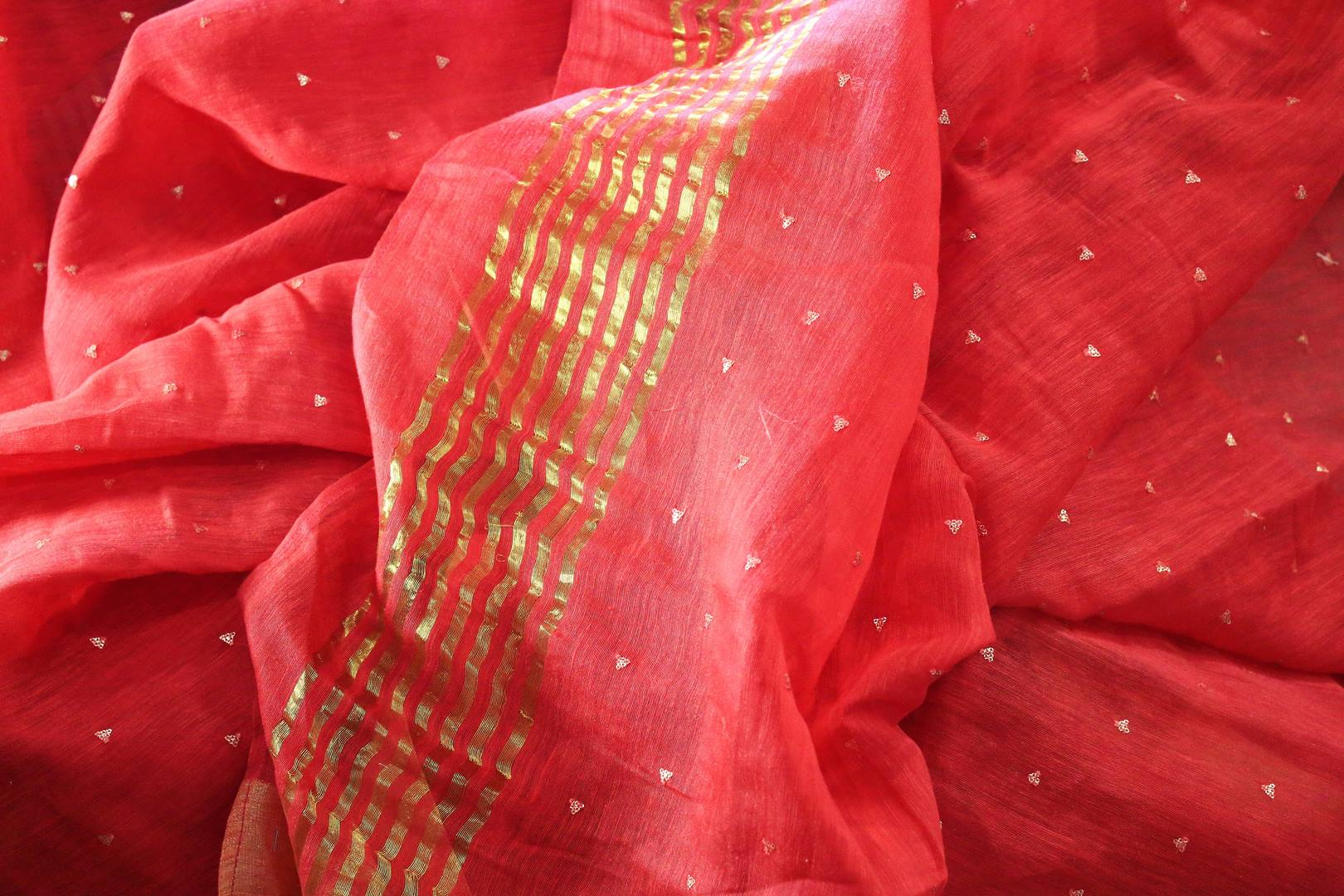 Buy red matka silk sari online in USA with mirror work. Make a statement with your Indian saree look at special occasions with an exquisite collection of Indian designer silk saris available at Pure Elegance clothing store or shop online.-details