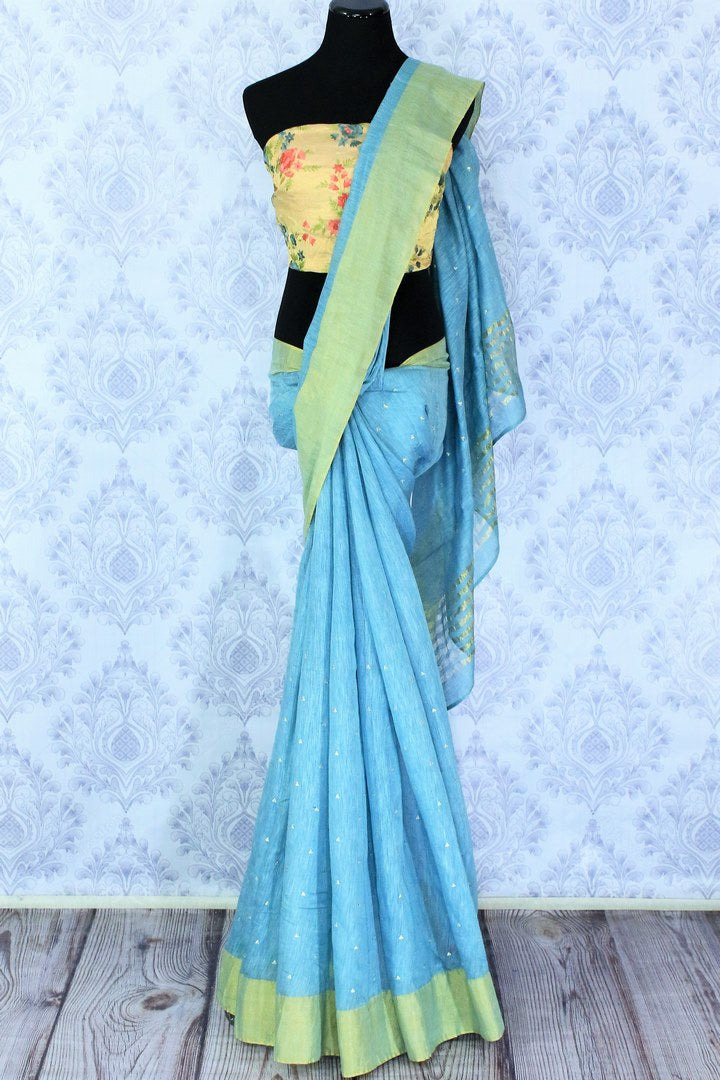 Buy online sky blue embroidered matka silk sari in USA with golden border. Make a statement with your Indian saree look at special occasions with an exquisite collection of Indian designer silk sarees available at Pure Elegance clothing store or shop online.-full view