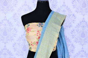 Buy online sky blue embroidered matka silk sari in USA with golden border. Make a statement with your Indian saree look at special occasions with an exquisite collection of Indian designer silk sarees available at Pure Elegance clothing store or shop online.-blouse pallu
