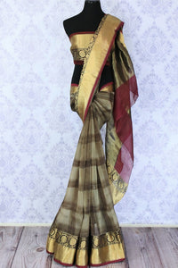 Buy grey check organza saree online in USA with golden border. Make a statement with your Indian saree look at special occasions with an exquisite collection of Indian designer sarees available at Pure Elegance clothing store or shop online.-full view