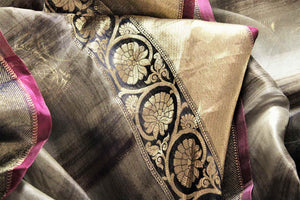 Buy grey check organza saree online in USA with golden border. Make a statement with your Indian saree look at special occasions with an exquisite collection of Indian designer sarees available at Pure Elegance clothing store or shop online.-details