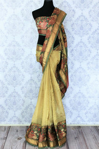 Shop elegant beige kota silk saree online in USA with printed border. Bring a touch of tradition to your Indian look with an exquisite range Indian designer sarees available at Pure Elegance Indian fashion store in USA or shop online.-full view