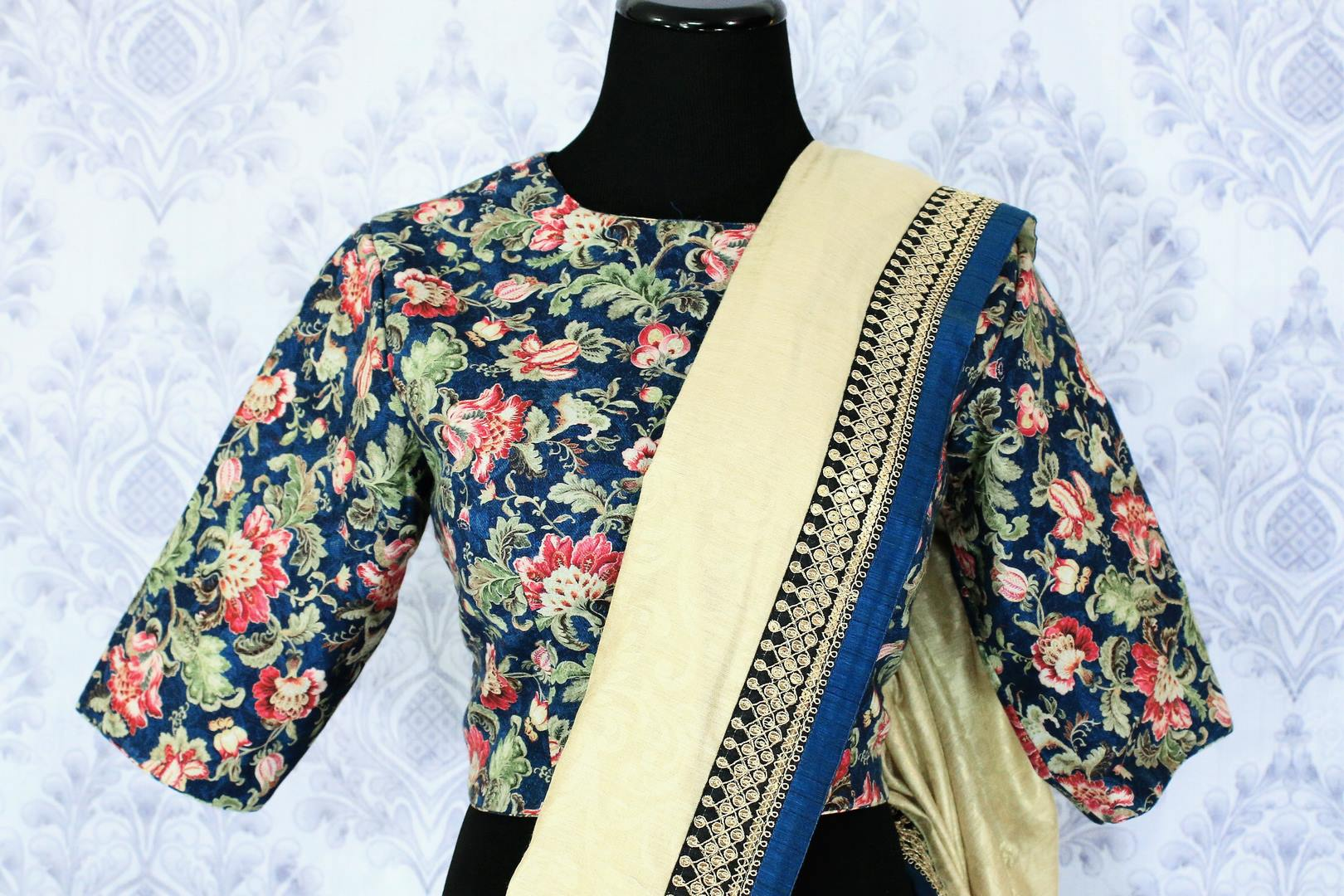 Shop cream tussar silk saree online in USA with a printed blouse. Bring a touch of tradition to your Indian look with an exquisite range Indian designer saris available at Pure Elegance Indian fashion store in USA or shop online.-blouse pallu