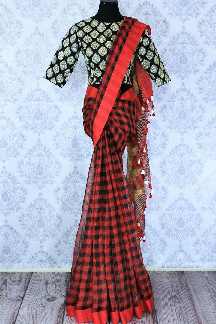 Shop red and black check linen saree online in USA with a printed blouse. Bring a touch of tradition to your Indian look with an exquisite range Indian handloom saris, pure linen sarees available at Pure Elegance Indian fashion store in USA or shop online.-full view