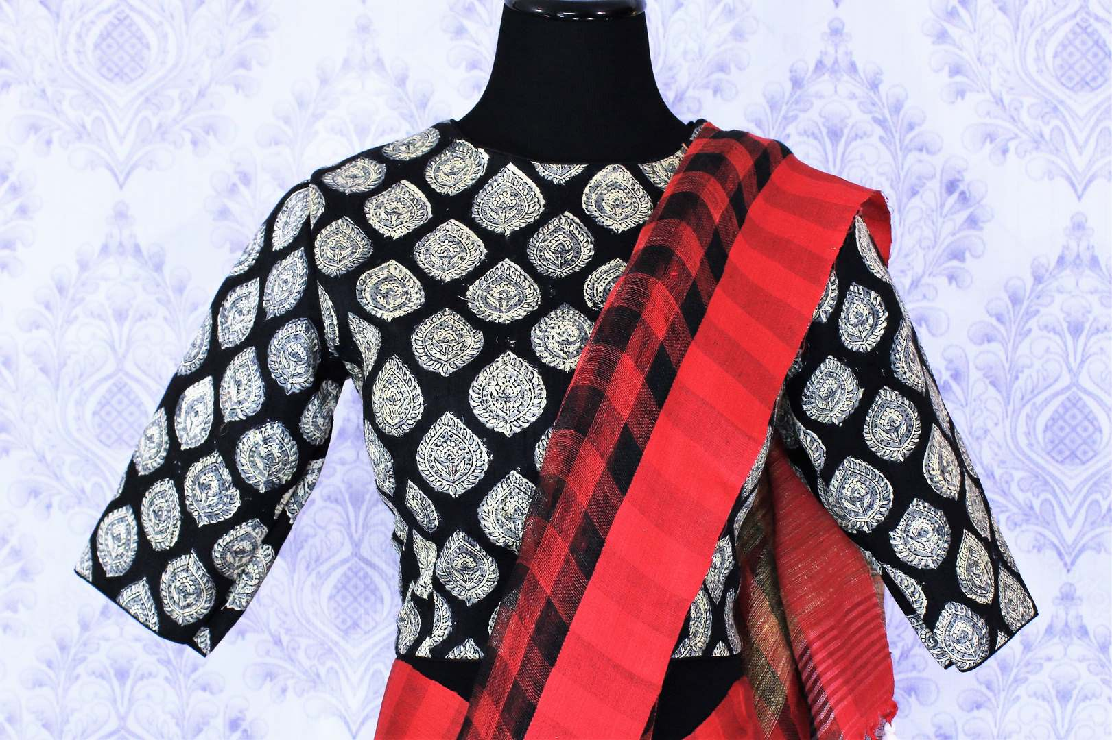 Shop red and black check linen saree online in USA with a printed blouse. Bring a touch of tradition to your Indian look with an exquisite range Indian handloom saris, pure linen sarees available at Pure Elegance Indian fashion store in USA or shop online.-blouse pallu