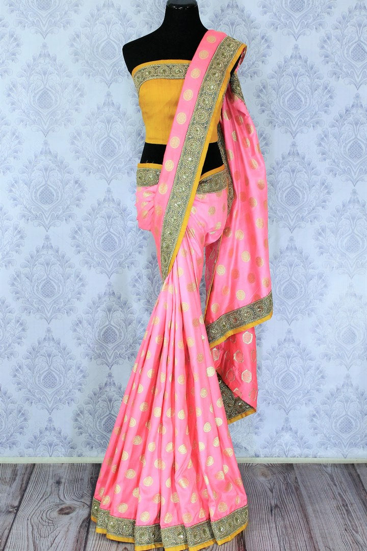 Shop pink embroidered Banarasi silk sari online in USA with zari buta. Bring a touch of tradition to your Indian look with an exquisite range Indian designer silk sarees, embroidered sarees available at Pure Elegance Indian fashion store in USA or shop online.-full view
