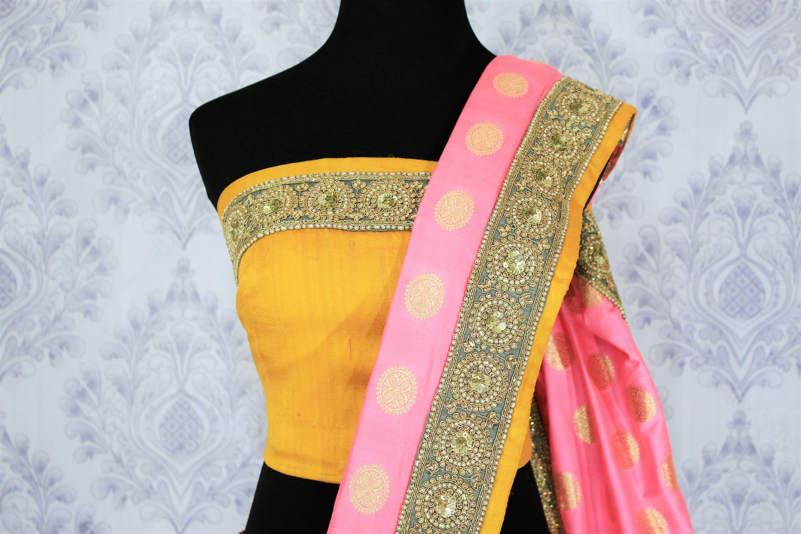 Shop pink embroidered Banarasi silk sari online in USA with zari buta. Bring a touch of tradition to your Indian look with an exquisite range Indian designer silk sarees, embroidered sarees available at Pure Elegance Indian fashion store in USA or shop online.-blouse pallu