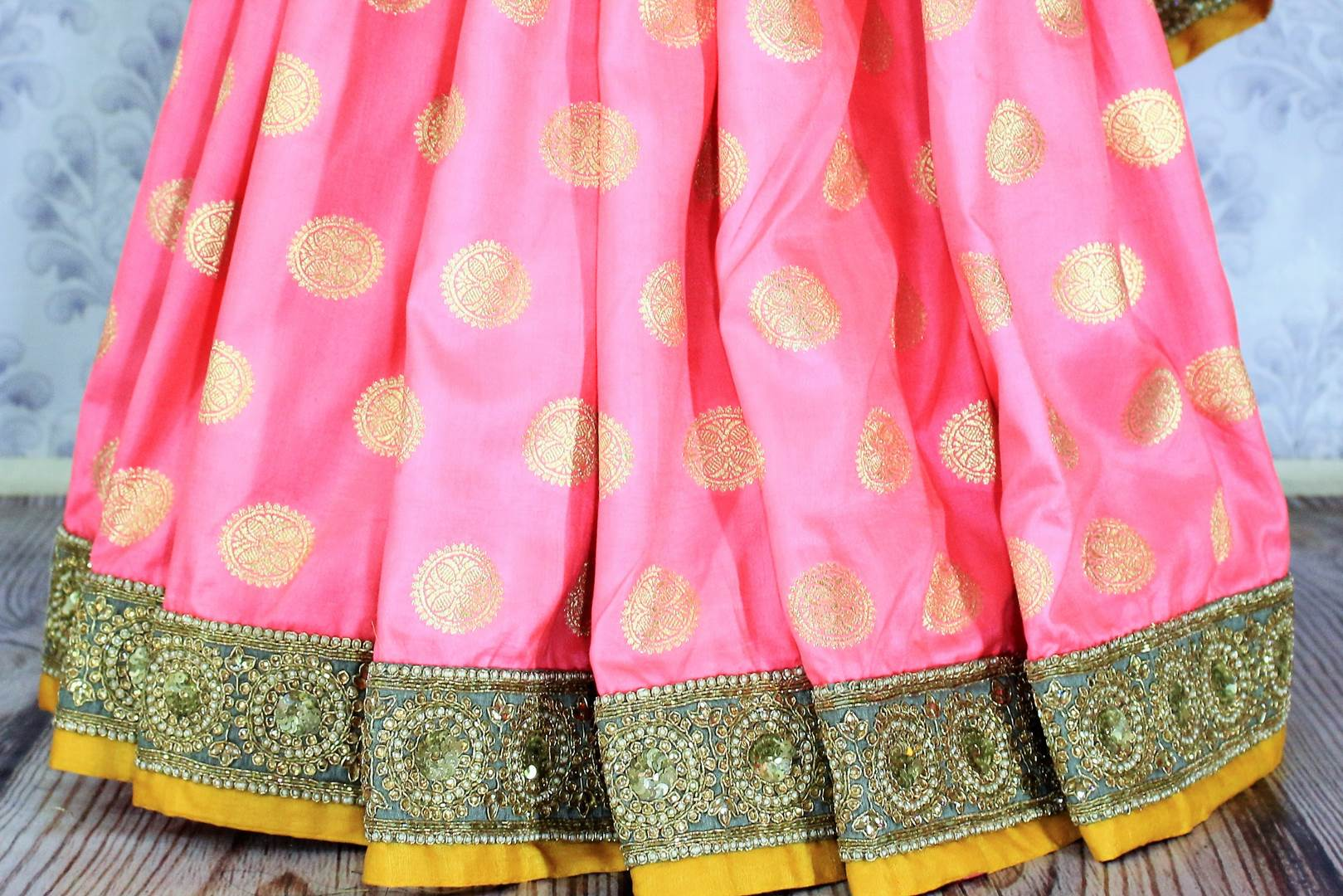 Shop pink embroidered Banarasi silk sari online in USA with zari buta. Bring a touch of tradition to your Indian look with an exquisite range Indian designer silk sarees, embroidered sarees available at Pure Elegance Indian fashion store in USA or shop online.-pleats
