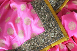 Shop pink embroidered Banarasi silk sari online in USA with zari buta. Bring a touch of tradition to your Indian look with an exquisite range Indian designer silk sarees, embroidered sarees available at Pure Elegance Indian fashion store in USA or shop online.-details