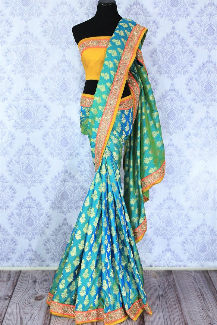 Shop greenish blue embroidered Banarasi silk sari online in USA with zari buta. Bring a touch of tradition to your Indian look with an exquisite range Indian designer silk saris, embroidered sarees available at Pure Elegance Indian fashion store in USA or shop online.-full view