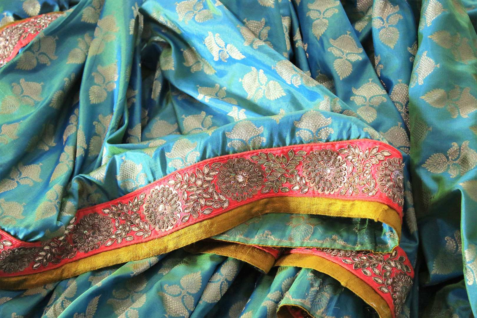 Shop greenish blue embroidered Banarasi silk sari online in USA with zari buta. Bring a touch of tradition to your Indian look with an exquisite range Indian designer silk saris, embroidered sarees available at Pure Elegance Indian fashion store in USA or shop online.-details