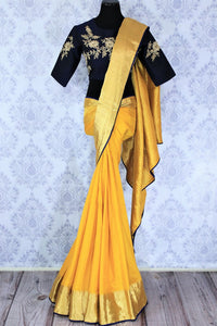 Buy yellow muga Banarasi saree online in USA with embroidered saree blouse. Bring a touch of tradition to your Indian look with an exquisite range of Indian designer silk saris, embroidered sarees available at Pure Elegance Indian fashion store in USA or shop online.-full view