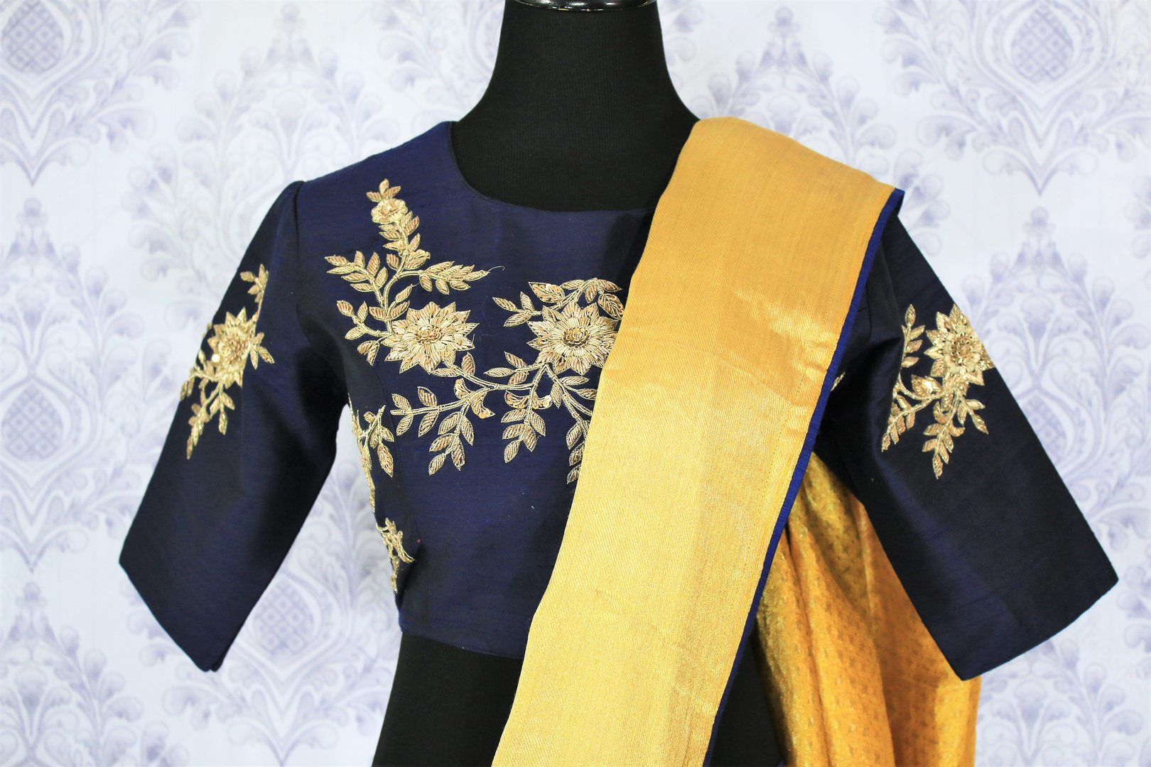 Buy yellow muga Banarasi saree online in USA with embroidered saree blouse. Bring a touch of tradition to your Indian look with an exquisite range of Indian designer silk saris, embroidered sarees available at Pure Elegance Indian fashion store in USA or shop online.-blouse pallu
