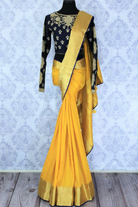 Buy online yellow muga Banarasi saree in USA with black embroidered saree blouse. Bring a touch of tradition to your Indian look with an exquisite range Indian designer silk saris, Banarasi sarees available at Pure Elegance Indian fashion store in USA or shop online.-full view