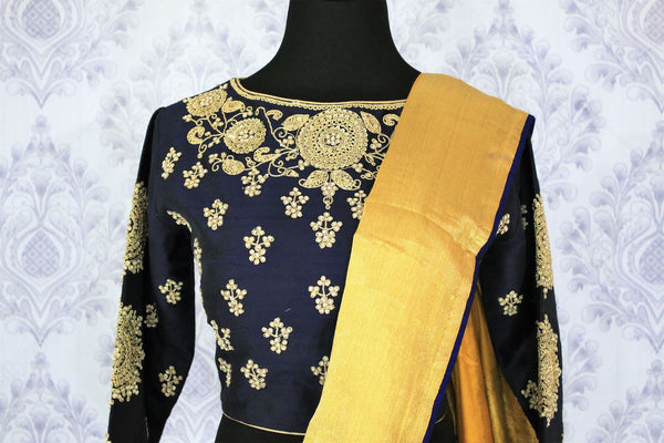 Buy online yellow muga Banarasi saree in USA with black embroidered saree blouse. Bring a touch of tradition to your Indian look with an exquisite range Indian designer silk saris, Banarasi sarees available at Pure Elegance Indian fashion store in USA or shop online.-blouse pallu