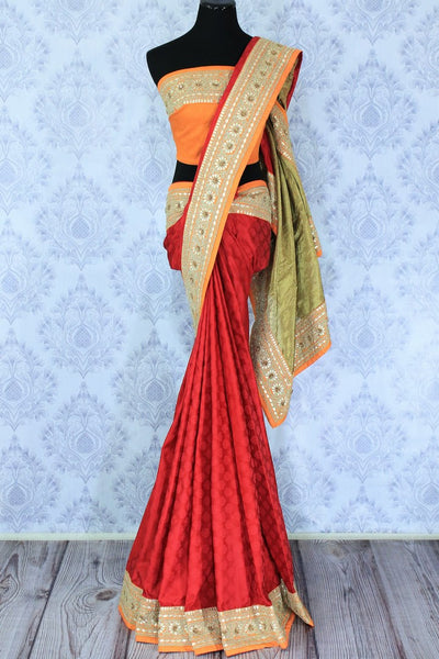 Buy red Banarasi silk saree with yellow border online in USA. It comes with a gorgeous yellow embroidered blouse and a stunning embroidered border.Make your Indian clothing collection exquisite with beautiful Indian designer sarees, Banarasi sarees available at Pure Elegance clothing store in USA or shop online.-full view