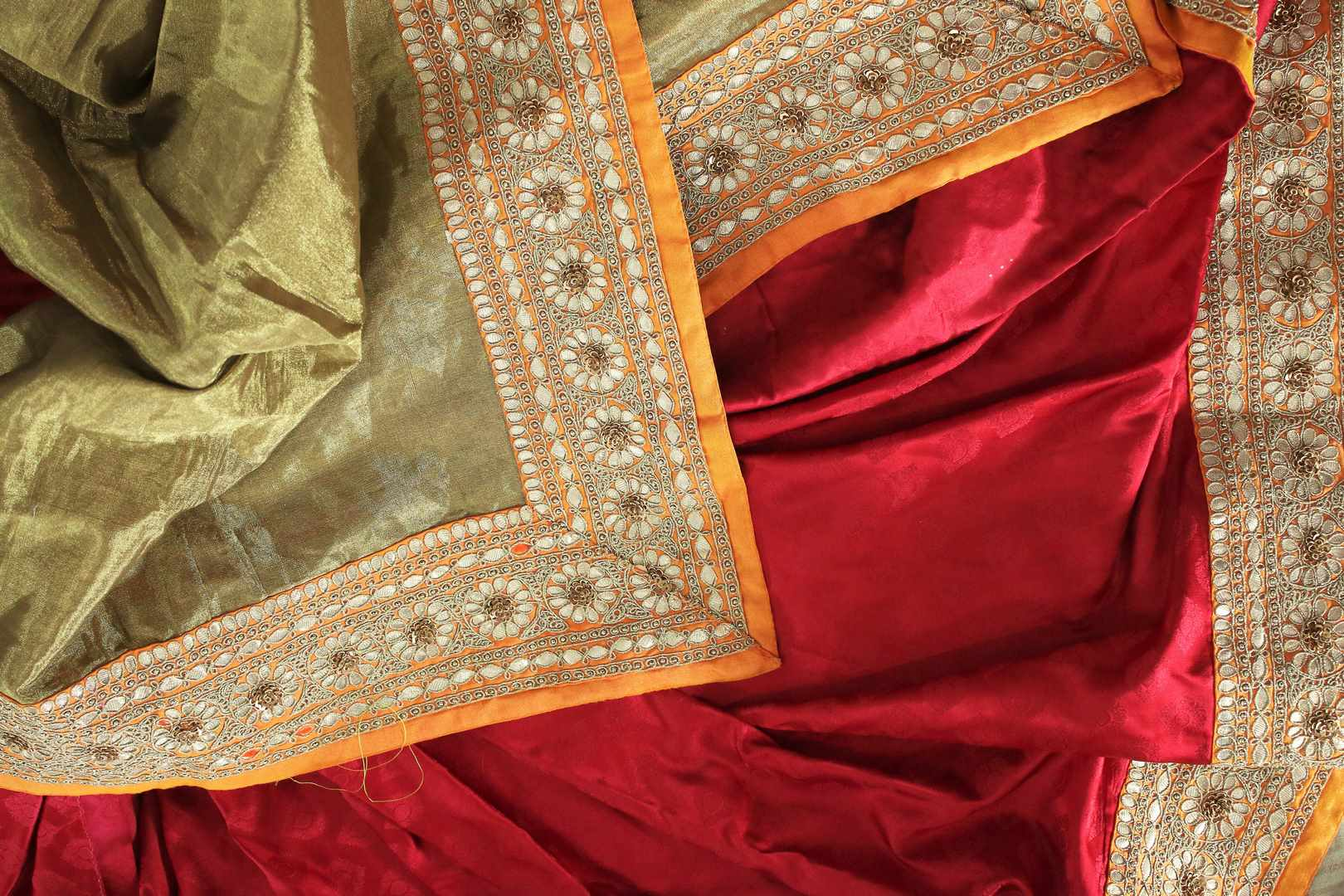 Buy red Banarasi silk saree with yellow border online in USA. It comes with a gorgeous yellow embroidered blouse and a stunning embroidered border.Make your Indian clothing collection exquisite with beautiful Indian designer sarees, Banarasi sarees available at Pure Elegance clothing store in USA or shop online.-details