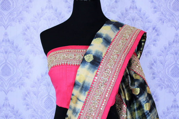 Buy blue and cream shiburi print muga Banarasi saree online in USA. It is a beautiful blend of shiburi print, zari buta and pink embroidered border. Make your Indian clothing collection exquisite with beautiful Indian designer sarees, Banarasi sarees available at Pure Elegance clothing store in USA or shop online.-blouse pallu