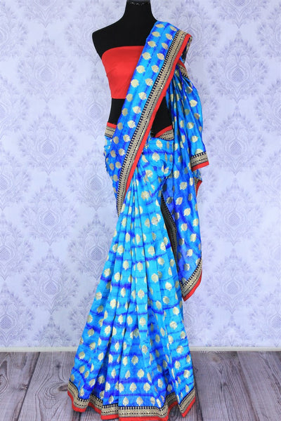Buy blue embroidered Banarasi silk saree with zari buta online in USA. Make your Indian saree collection exquisite with beautiful Indian designer sarees, Banarasi sarees available at Pure Elegance clothing store in USA or shop online.-full view